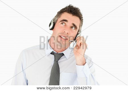 Handsome Operator Speaking Through A Headset