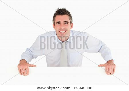 Businessman Standing Behind A Copy Space