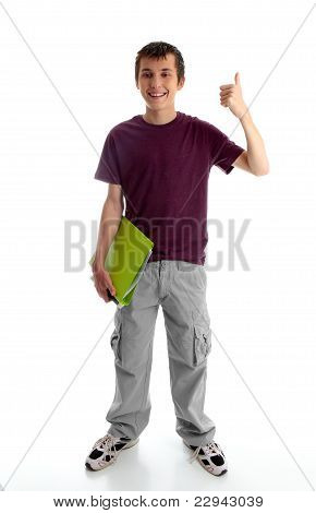 Teen Boy Or Student With Thumbs Up