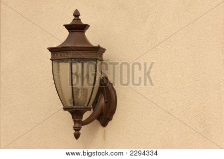 Beautiful Lamp On Stucco Wall