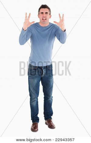 Angry Man Rising His Hands