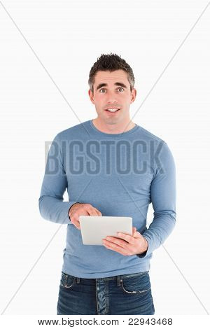 Portrait Of A Man Holding A Tablet Computer