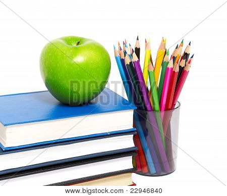 books and an apple back to school