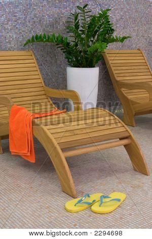 Sunbed With Orange Towel