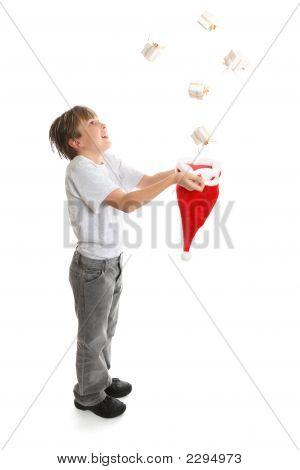 Boy Catching Presents