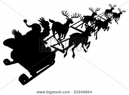 Santa In His Christmas Sled Or Sleigh Silhouette