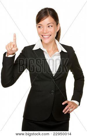 Drücken Sie die Schaltfläche Business-Frau. Geschäftsfrau Taste oder so etwas. Isoliert auf weißem Zwillingsvulkane
