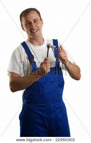 Craftsmen Holding A Wrench In His Hand