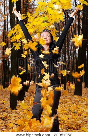 The Women With The Lifted Hands Autumn Forest