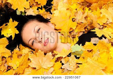 The Attractive Woman Lies In Autumn Leaf
