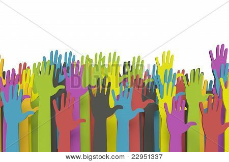 Colorful group of raised hands with clipping path