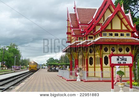 Train Arriving At Hua Hin Railway Station, Thailand