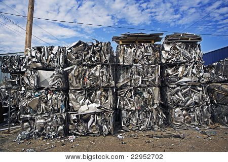 Stacked Crushed Scrap Metal
