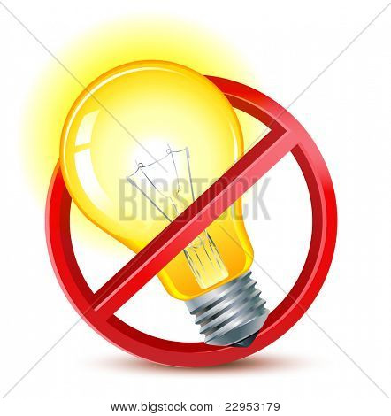 old filament light bulbs forbidden sign
