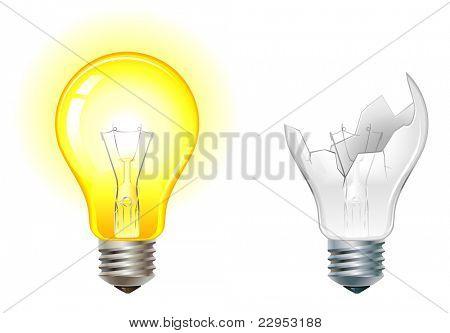 glowing and broken down light bulbs vector illustration
