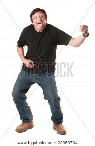 Man Plays An Air Guitar