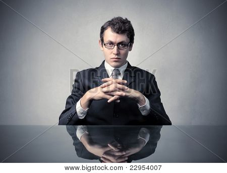 Young businessman with serious expression