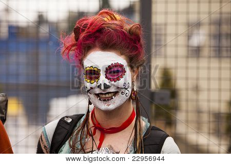 Parade Spectator With Face Paint
