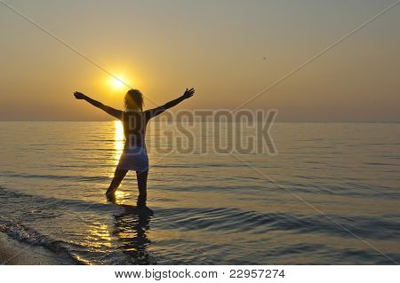 The Siluette Of Girl On Sunset