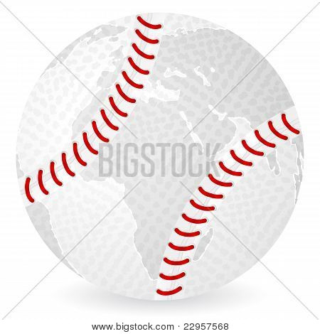 World Map Baseball Ball
