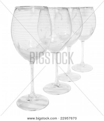 Empty Dirty Wine Glasses With Foam Prepared For Washing
