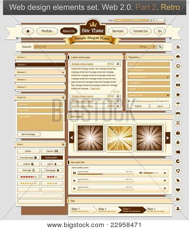 Web Design Set Retro 2