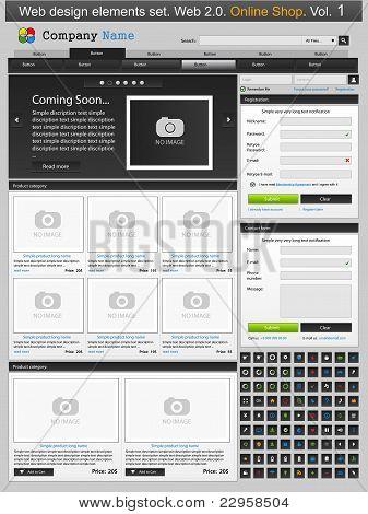 Web Design Elements Set. Online Shop 1