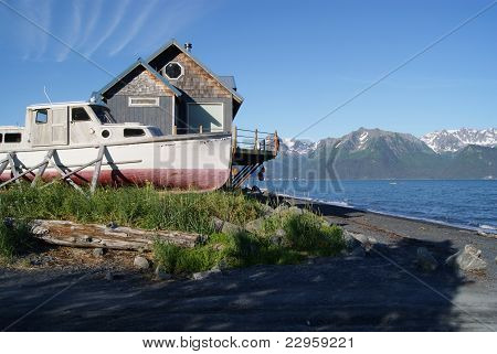 Lowell Point, Alaska home with boat