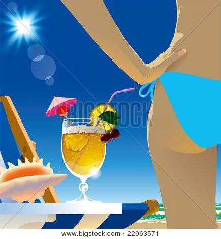Raster version of vector image of a glass with cocktail and sexy girl body part in the beach under blue sunny sky