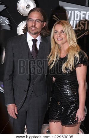 LOS ANGELES - AUG 28:  Britney Spears, boyfriend Jason Trawick arriving at the  2011 MTV Video Music Awards at the LA Live on August 28, 2011 in Los Angeles, CA