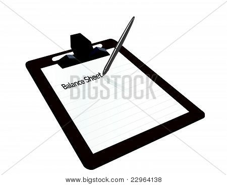 Balance sheet clipboard illustration design