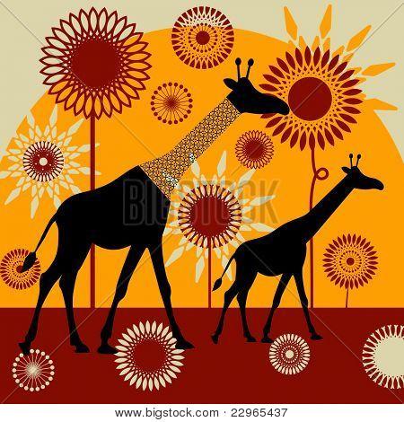 wild  safari giraffes flowers sun