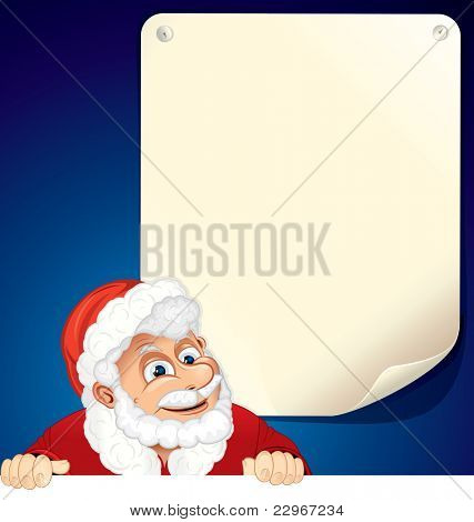 Cartoon Santa Claus with blank list for your text