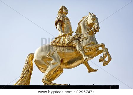 An image of the famous golden rider in Dresden Germany