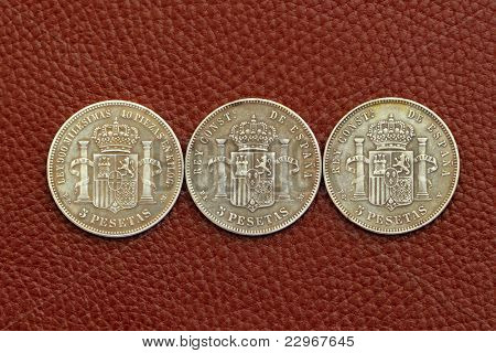 five pesetas spain old coins Alfonso XII Carlos III Ioseph Napoleon