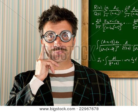 Genius nerd glasses silly man board math formula pensive gesture thinking expression