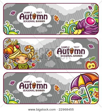 Vector set of decorative autumnal banners. Design elements. part 3