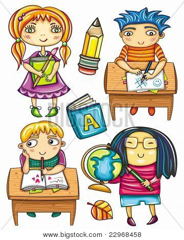 Group of cute, little schoolchildren. Isolated on white background. Ginger girl standing with book.  Funny boy sitting  at the desk,  playing game.  Blond boy at the desk writing love letter.