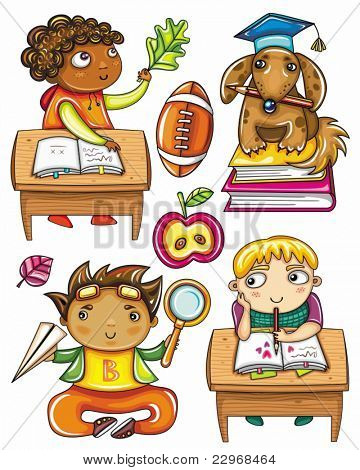 Group of cute, little schoolchildren. Isolated on white background. African boy, sitting at the desk, Very smart dog sitting on books, Funny Hispanic boy , Blond boy sitting at the desk,