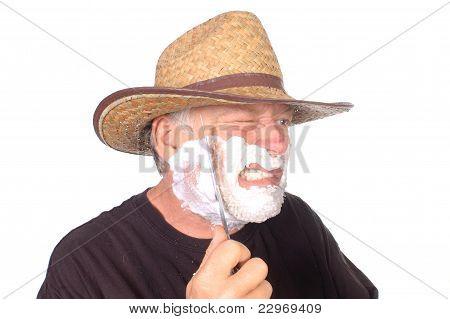 tough guy shaving