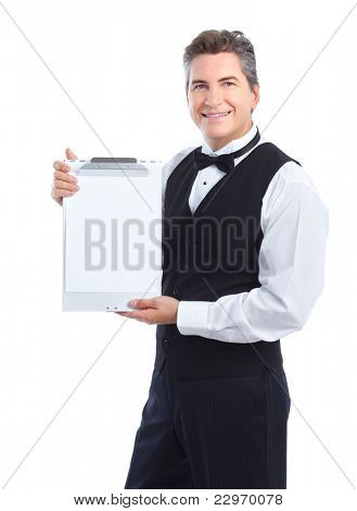 Camarero guapo sonriente. Aislado sobre fondo blanco.