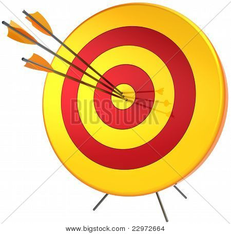 Target success hitting with three arrows