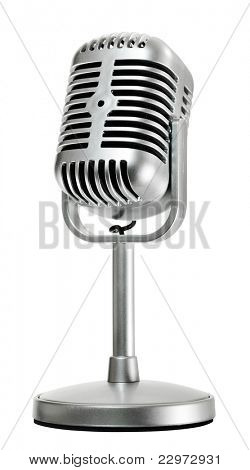 retro microphone, side view, isolated on white