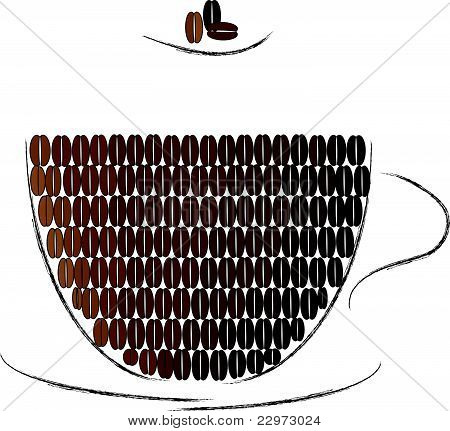 Cup Made Of Coffee Beans