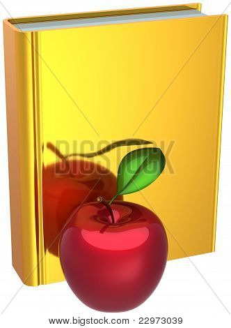 Golden book and red apple Back to School concept