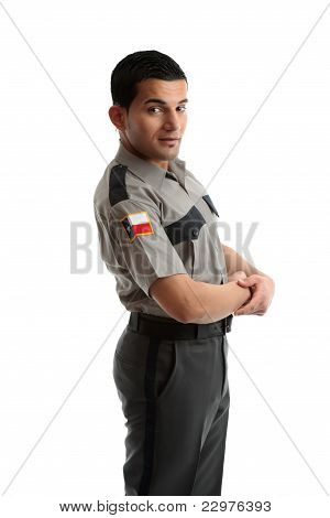 Male Worker In Uniform Standing Sideways