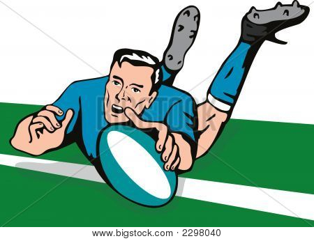 Rugby Player Scoring A Try On Turf