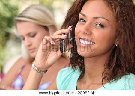 Attractive young woman on a cellphone