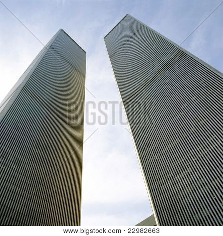 Looking Up At World Trade Center Towers From Ground