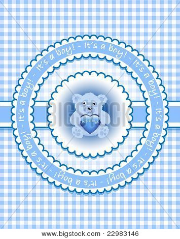 'It's a boy'. Template for birth announcement or baby shower invitation. bear holding heart on gingham background. EPS10 vector format.